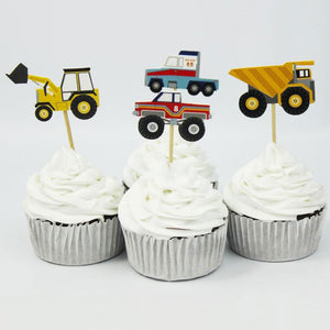 Assorted Trucks Cupcake Toppers (Set of 24)-Cars, Cupcake Birthday, Trucks-Cheery Toppers