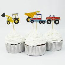 Load image into Gallery viewer, Assorted Trucks Cupcake Toppers (Set of 24)-Cars, Cupcake Birthday, Trucks-Cheery Toppers