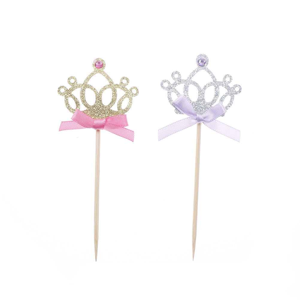 Princess Tiara Cupcake Toppers (Set of 10)-bachelorette, bat mitzvah, bridal shower, Cupcake Baby Shower, Cupcake Birthday, Cupcake Wedding, princess, princess baby shower, quinceanera, sweet sixteen-Gold & Pink-Cheery Toppers
