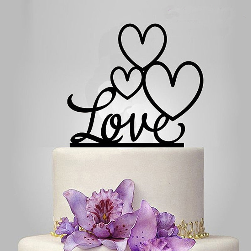 "Black ""3-Heart Love"" Wedding Cake Topper-Bridal Shower, Valentines-Cheery Toppers"