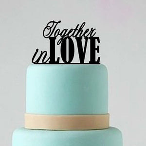 "Sweet ""Together In Love"" Wedding Cake Topper (maryam)-Bridal Shower, Valentines-Cheery Toppers"