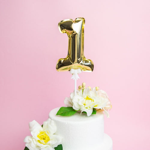 Small Aluminium Number Balloon Cake Topper-1st Birthday, Numbers-Gold 1-Cheery Toppers