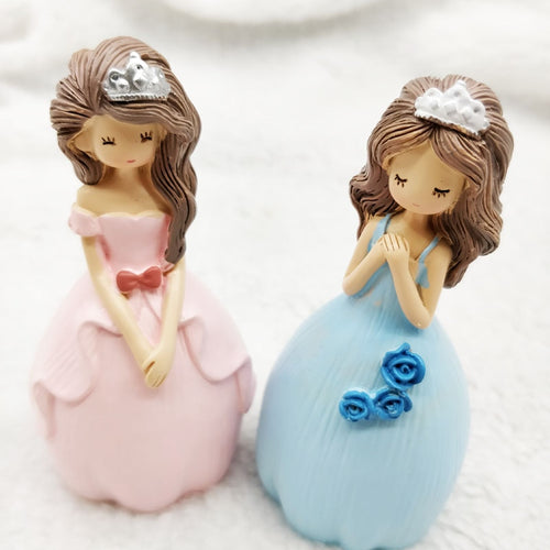 Princess Sisters Cake Topper (Pink or Blue)-Bat Mitzvah, Princess, Princess Baby Shower, Quinceanera-Blue Princess-Cheery Toppers