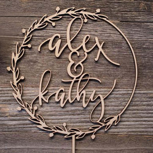 "Personalized Rustic Wreath Hoop Wedding Cake Topper-Custom Wedding, Rustic Wedding-Wood-5.5"" / 14cm (Hight)-Cheery Toppers"