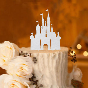 Storybook Castle Princess Cake Topper (Silver)-princess, princess baby shower-Cheery Toppers