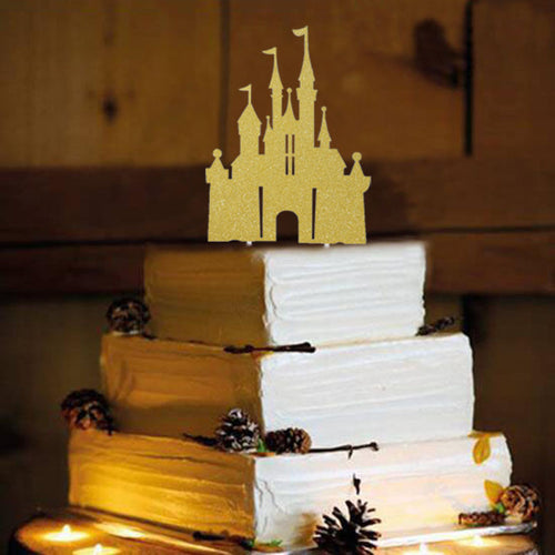 Storybook Castle Princess Cake Topper (Gold)-princess, princess baby shower-Cheery Toppers