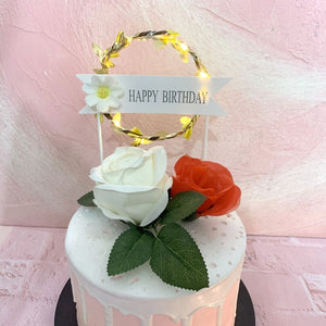 "Lighted Wreath ""Happy Birthday"" Cake Topper-banner, lighted-Blue-With LED-Cheery Toppers"