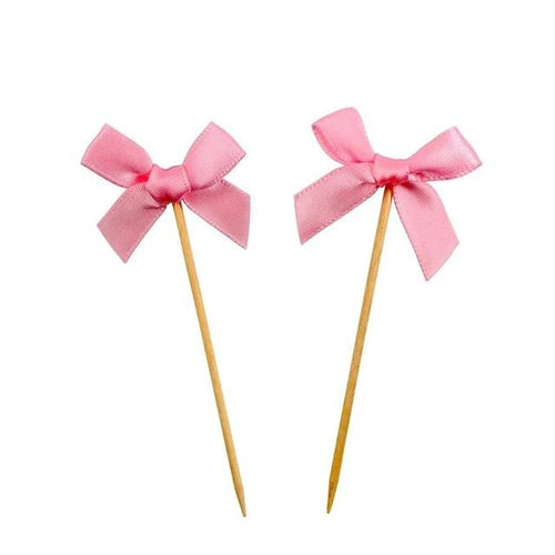 Pink Bow Cupcake Toppers-Cupcake Baby Shower, pink baby shower-Cheery Toppers