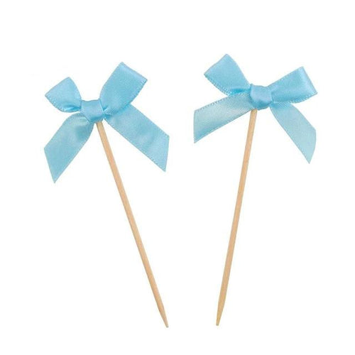 Sky Blue Bow Cupcake Toppers 12pcs-blue baby shower, Cupcake Baby Shower-Cheery Toppers