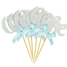 "Load image into Gallery viewer, Silver Glitter ""One"" Cupcake Toppers with Pink and Blue Bow for 1st Birthday 10pcs-1st birthday-Blue and Silver 12pcs-Cheery Toppers"