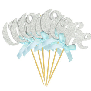 "Silver Glitter ""One"" Cupcake Toppers with Pink and Blue Bow for 1st Birthday 10pcs-1st birthday-Blue and Silver 12pcs-Cheery Toppers"
