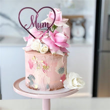 "Load image into Gallery viewer, ""Mum"" Heart Shaped Mother's Day Cake Topper"