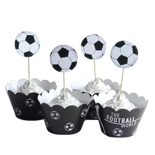 Game on! Football Cupcake Toppers and Wrappers (Set of 12)-Bar Mitzvah, Sports-Cheery Toppers