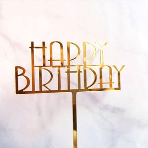 "Elegant ""Happy Birthday"" Cake Topper (Gold)-""happy birthday""-Cheery Toppers"