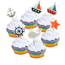 Load image into Gallery viewer, All Aboard! Nautical Cupcake Toppers (24pcs)-Cupcake Baby Shower, Cupcake Birthday, Nautical-Cheery Toppers