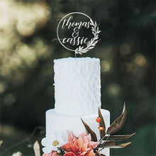 Load image into Gallery viewer, Simple Wreath Personalized Names Wedding Cake Topper