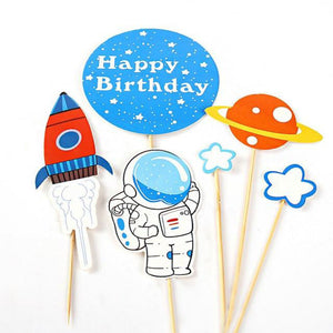 6 Piece Space Cake Topper-Space-Cheery Toppers