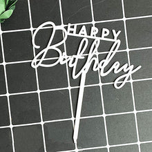 "Load image into Gallery viewer, Mixed Script White ""Happy Birthday"" Cake Topper"