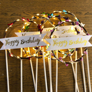"Lighted Wreath ""Happy Birthday"" Cake Toppers-""Happy Birthday"", Banner, lighted, lighted toppers-Blue-Cheery Toppers"