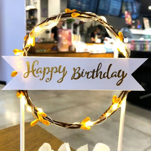 "Lighted Wreath ""Happy Birthday"" Cake Toppers-""Happy Birthday"", Banner, lighted, lighted toppers-Orange-Cheery Toppers"