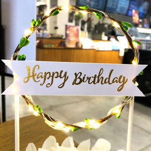 "Lighted Wreath ""Happy Birthday"" Cake Toppers-""Happy Birthday"", Banner, lighted, lighted toppers-Green-Cheery Toppers"
