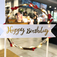"Load image into Gallery viewer, Lighted Wreath ""Happy Birthday"" Cake Toppers-""Happy Birthday"", Banner, lighted, lighted toppers-Red-Cheery Toppers"