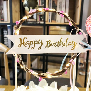 "Lighted Wreath ""Happy Birthday"" Cake Toppers-""Happy Birthday"", Banner, lighted, lighted toppers-Pink-Cheery Toppers"