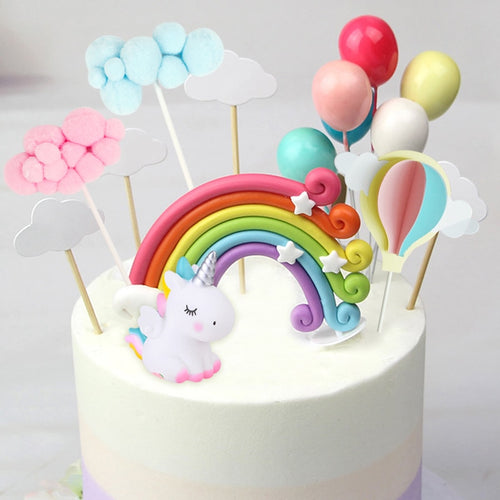 Sitting Unicorns Cake Topper Set-unicorn, unicorn baby shower-Pink Unicorn-Cheery Toppers