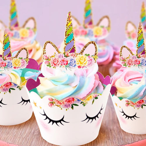 Peaceful Unicorn Cupcake Wrappers and Toppers (Set of 12)-Cupcake Baby Shower, Cupcake Birthday, cupcake unicorn, unicorn, unicorn baby shower, unicorn birthday-Cheery Toppers