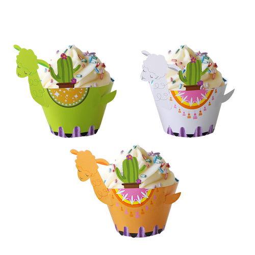 Alpaca and Cactus Cupcake Wrappers (Set of 12)-Alpaca, baby shower cupcake, birthday cupcake, Cupcake Baby Shower, Cupcake Birthday, jungle, Jungle Baby Shower, Llama-Cheery Toppers