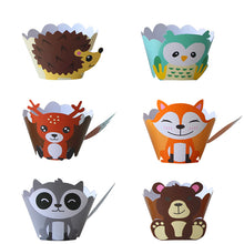 Load image into Gallery viewer, Woodland Animals Cupcake Wrappers (Set of 12)-Forest, Forest Baby Shower, Jungle-Cheery Toppers