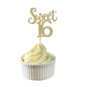 Sparkling Glitter Sweet 16 Cupcake Topper (Gold/Silver/Blue)-Sweet Sixteen-Gold 10pcs-Cheery Toppers