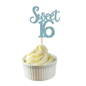 Sparkling Glitter Sweet 16 Cupcake Topper (Gold/Silver/Blue)-Sweet Sixteen-Blue 10pcs-Cheery Toppers