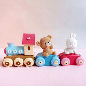 Birthday Train with Bear and Bunny! Baby's 1st Birthday Cake Toppers-1st birthday-Bear and Bunny Train-Cheery Toppers