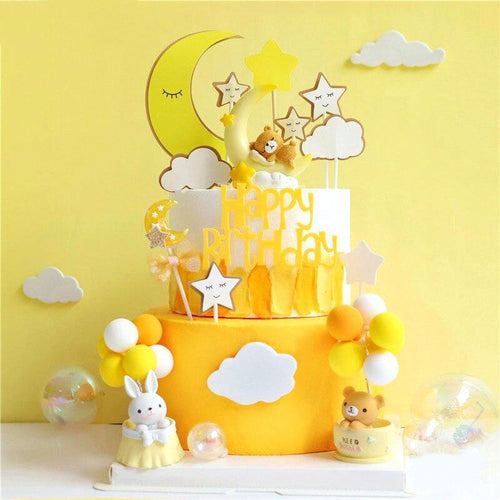 Dreamy Bears and Bunny Yellow Cake Topper Set-1st birthday, bears, yellow-Yellow Moon Bear-Cheery Toppers