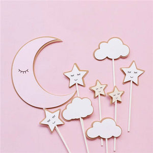 Dreamy Bear Pink Cake Toppers-1st birthday, bears, pink baby shower-Pink Moon Star Set-Cheery Toppers