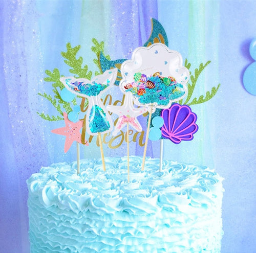 Encased Sequin Mermaid Cake Toppers-mermaid, mermaid baby shower-Shell with Blue Hearts-1PC-Cheery Toppers