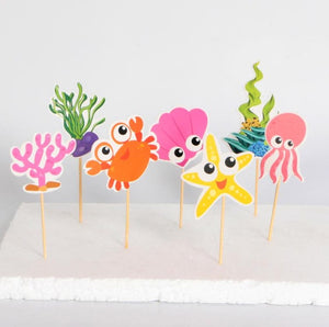 Cartoon Sea Creatures Cake Topper (Set of 7)-Cupcake Birthday, Mermaid, mermaid baby shower-Cheery Toppers