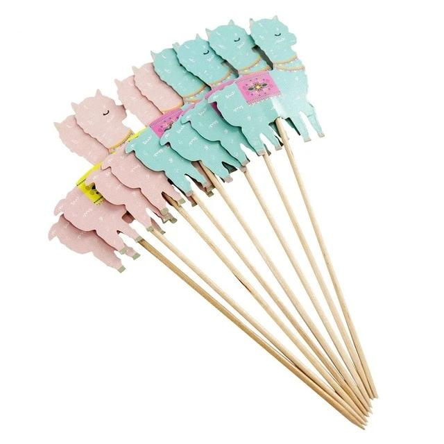 Blue and Pink Baby Alpaca Cupcake Toppers (Set of 8)-Cupcake Baby Shower, Cupcake Birthday, Llama-Cheery Toppers