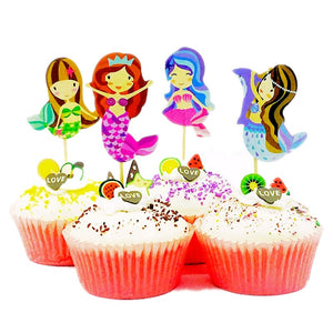 Mermaid Friends Cupcake Toppers (Set of 24)-Cupcake Birthday, mermaid-Cheery Toppers