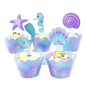 Iridescent Mermaid Cupcake Wrappers and Toppers (Set of 20)-Cupcake Birthday, mermaid-Cheery Toppers