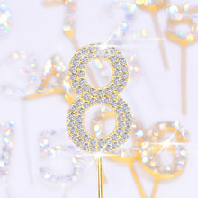 Load image into Gallery viewer, Glitter Rhinestone Number Cake Toppers (Gold)-Bat Mitzvah, numbers, Quinceanera, Sweet Sixteen-Gold Rhinestone 0-Cheery Toppers