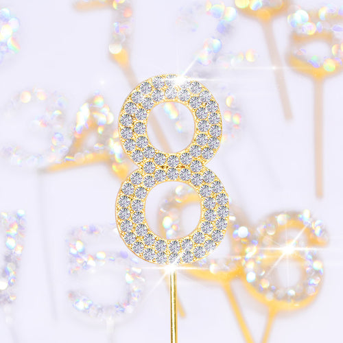 Glitter Rhinestone Number Cake Toppers (Gold)-Bat Mitzvah, numbers, Quinceanera, Sweet Sixteen-Gold Rhinestone 0-Cheery Toppers