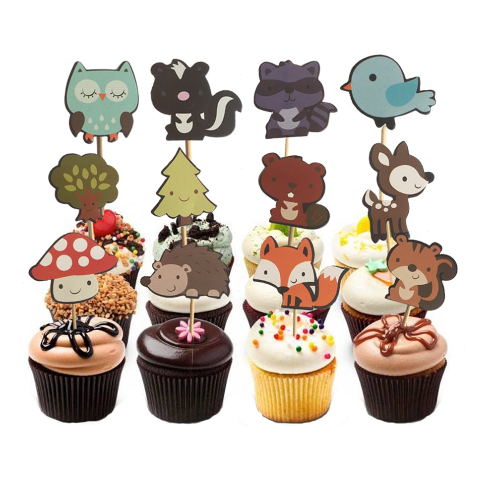 Woodland Creatures/Forest Cake Toppers (Set of 24)-Cupcake Baby Shower, Cupcake Birthday, Forest, Jungle-Cheery Toppers