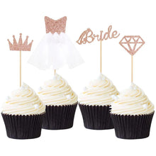 "Load image into Gallery viewer, ""Rose Gold Glitter Bride Diamond Crown 3D Wedding Dress"" Cupcake Toppers-Bachelorette, Bridal Shower, Cupcake Wedding-12pcs-Cheery Toppers"