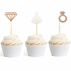 """Diamond Ring Wedding Dress"" Cupcake Toppers-Bachelorette, Bridal Shower, Cupcake Wedding-12pcs (3 each)-Cheery Toppers"