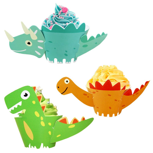 12 Piece Dinosaur Figure Cupcake Wrappers-cupcake, Cupcake Birthday, dinosaur-Cheery Toppers