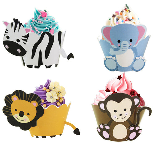 Jungle Animal Cupcake Wrappers (Set of 12)-baby shower cupcake, birthday cupcake, jungle, Jungle Baby Shower-Cheery Toppers