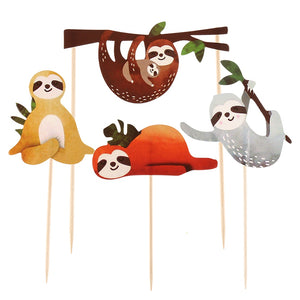 Smiling Sloths Cake Topper (Set of 4)-Cupcake Birthday, Forest, Jungle Baby Shower, Sloth-Cheery Toppers