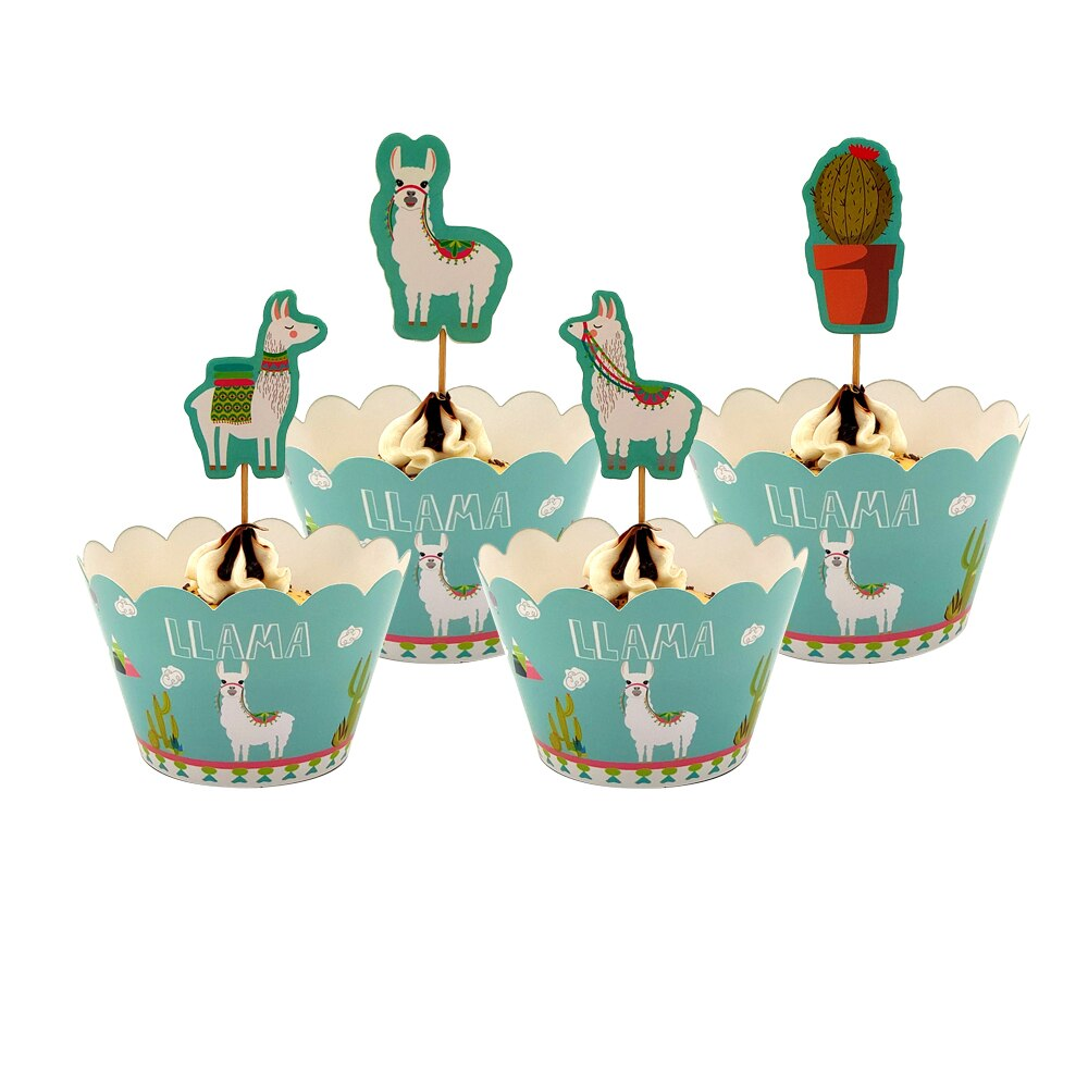 Llama in Desert Cupcake Wrappers and Toppers (Set of 12)-Cupcake Birthday, Llama-Cheery Toppers